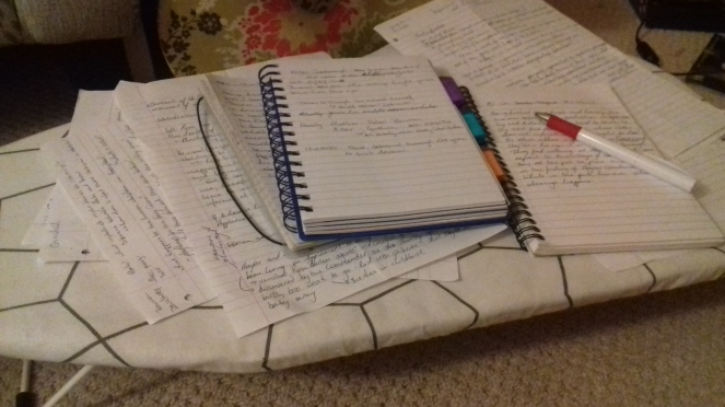 The image shows two notebooks and sheets of paper covered in writing.
