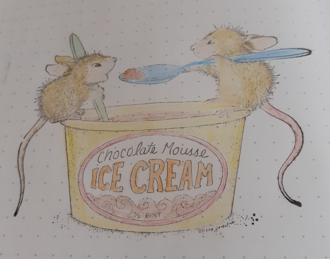 Stamp of mice eating ice-cream